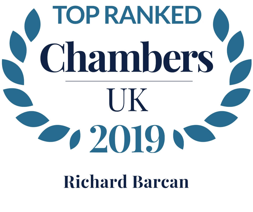 Graphic for Top ranked in Chambers - Richard Barcan