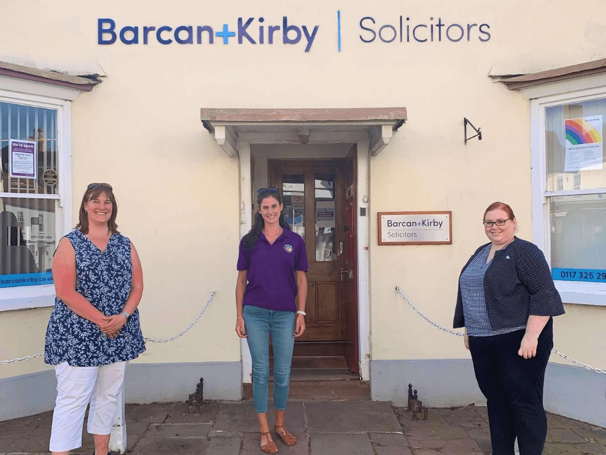 Tor-Goodman-Hattie-Clayton-and-Kathryn-Smith-outside-Thornbury-office